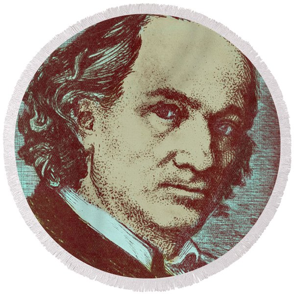 Baudelaire Colorized Drawing Round Beach Towel