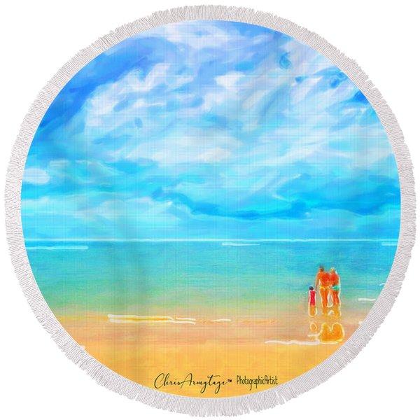 Beach Blues II Round Beach Towel