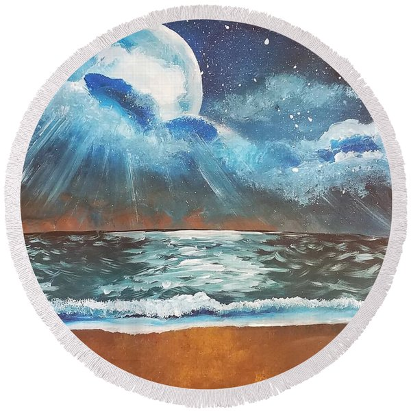Beach Moon  Round Beach Towel