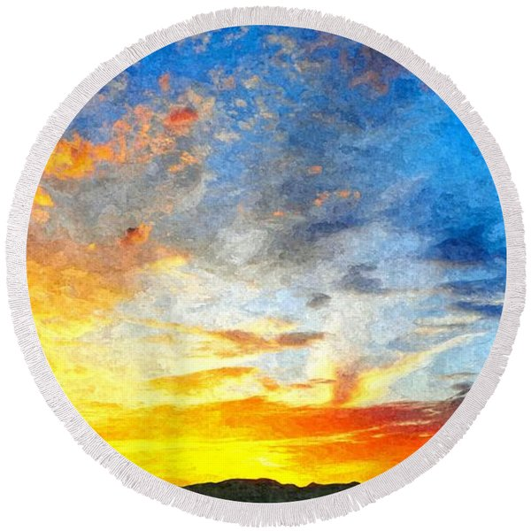 Beautiful Sunset In Landscape In Nature With Warm Sky, Digital A Round Beach Towel