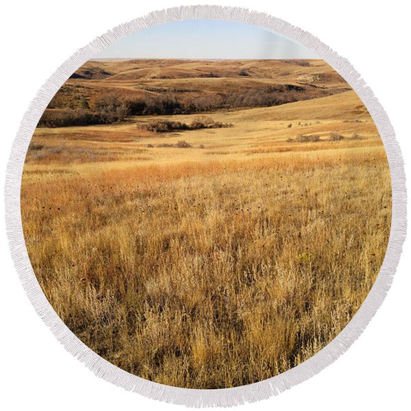 Round Beach Towel featuring the photograph Beauty On The High Plains by Carl Young