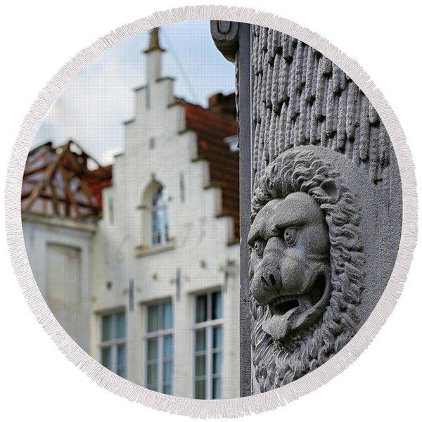 Belgian Coat Of Arms Round Beach Towel