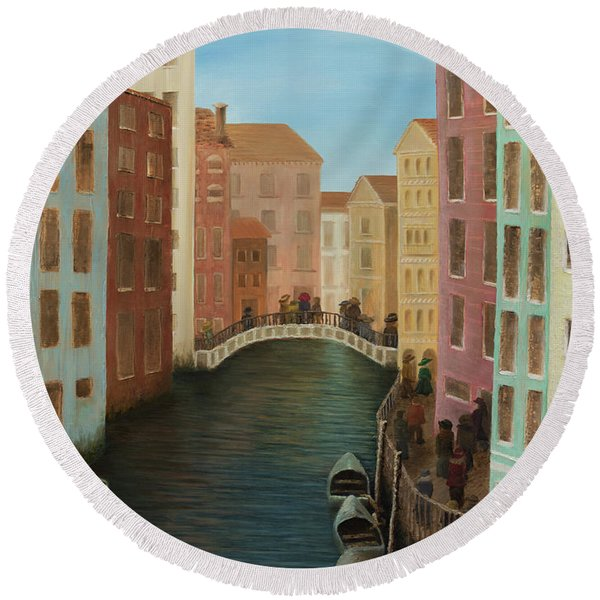 Beyond The Grand Canal Round Beach Towel