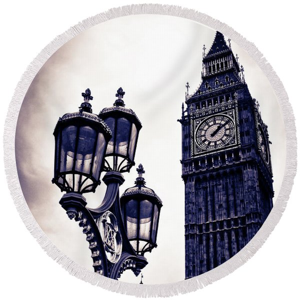 Big Ben Round Beach Towel