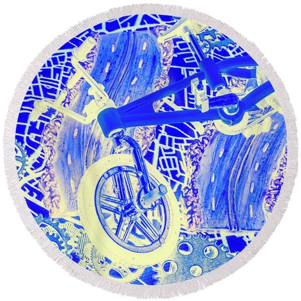 Biking Blue Round Beach Towel