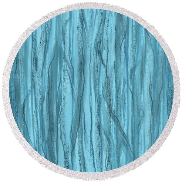 Birch Trees In Blue Light Round Beach Towel