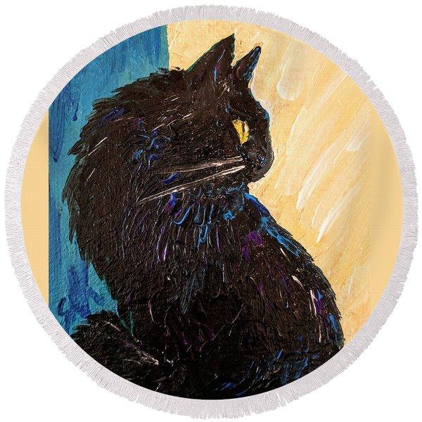 Black Cat In Sunlight Round Beach Towel