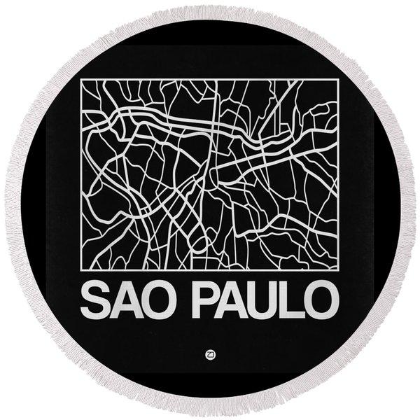 Black Map Of Sao Paulo Round Beach Towel