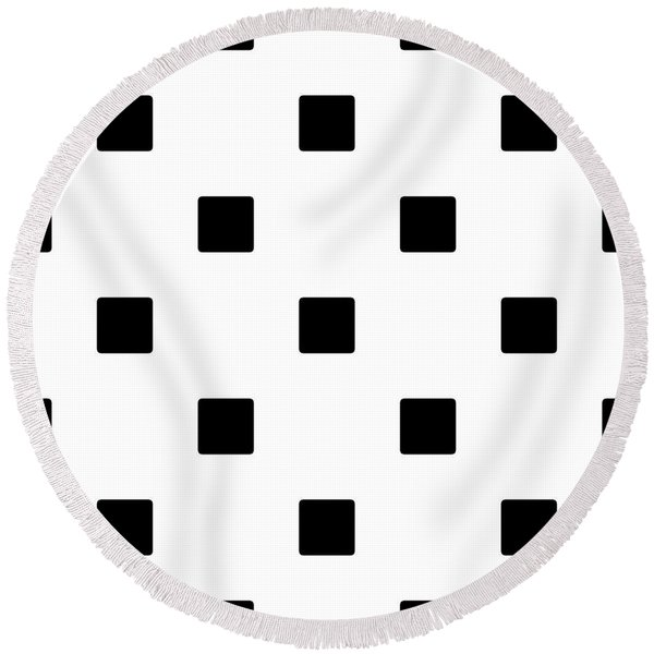 Black Squares On A White Background- Ddh574 Round Beach Towel