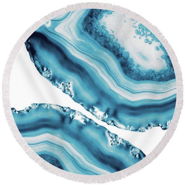 Blue Agate #4 #gem #decor #art Round Beach Towel