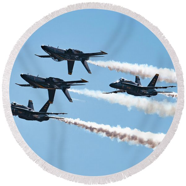 Blue Angels With Smoke On Round Beach Towel