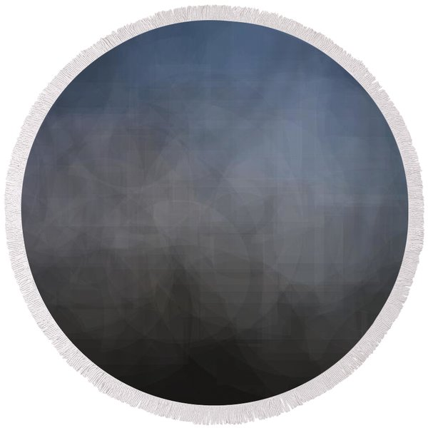 Blue Gray Abstract Background With Blurred Geometric Shapes. Round Beach Towel