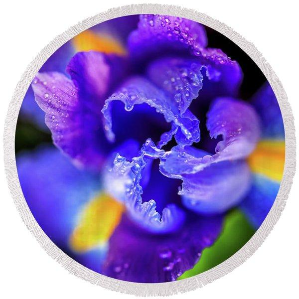 Blue Iris Dance Round Beach Towel