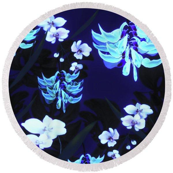 Blue Jungle Floral Round Beach Towel