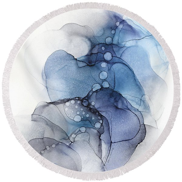 Blue Petal Dots Whispy Abstract Painting Round Beach Towel