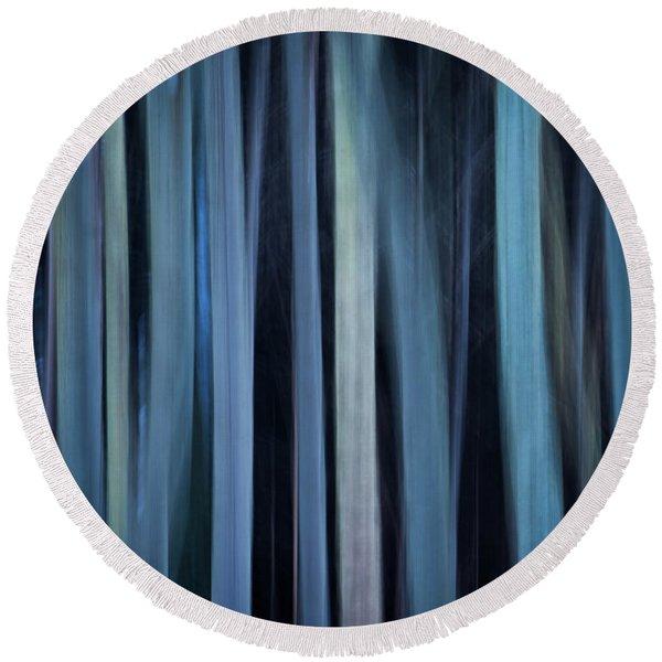 Blue Trees 1 Round Beach Towel