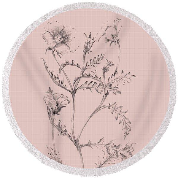 Blush Pink Flower Illustration I Round Beach Towel