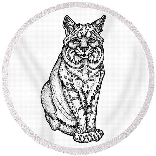 Bobcat Round Beach Towel