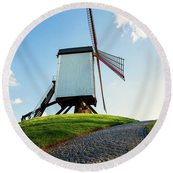 Bonne Chiere Windmill Bruges Belgium Round Beach Towel