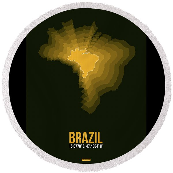 Brazil Radiant Map 1 Round Beach Towel