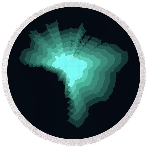 Brazil Radiant Map 2 Round Beach Towel