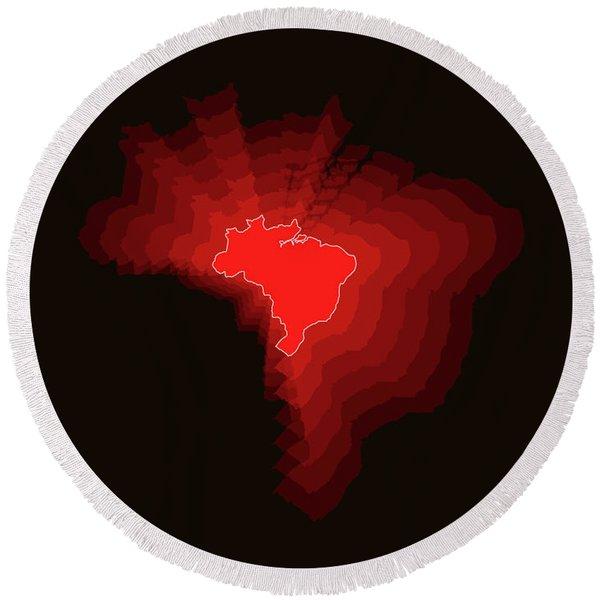 Brazil Radiant Map 3 Round Beach Towel