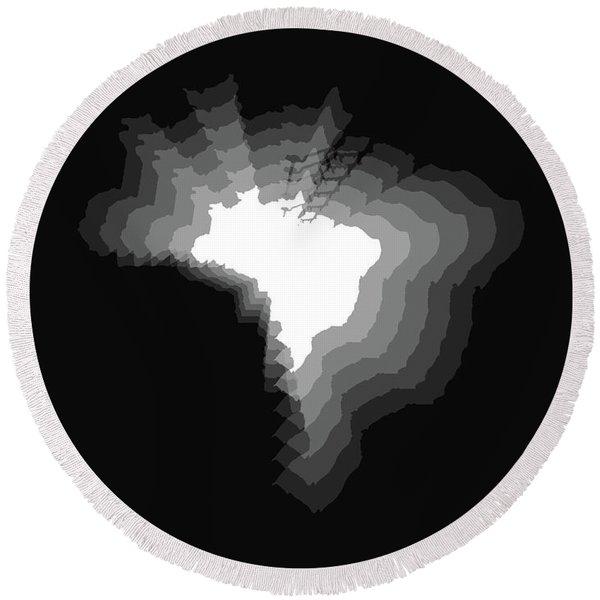 Brazil Radiant Map 4 Round Beach Towel
