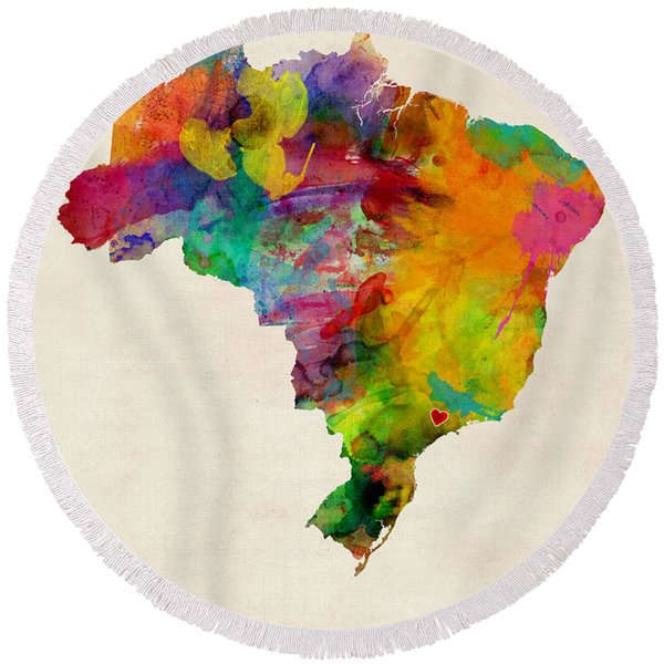 Brazil Watercolor Map Custom Heart Round Beach Towel