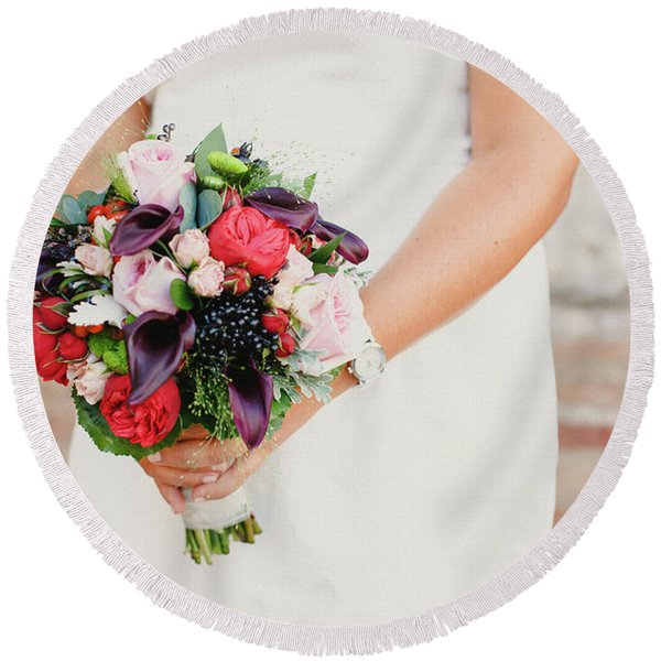 Bridal Bouquet Held By Her With Her Hands At Her Wedding Round Beach Towel