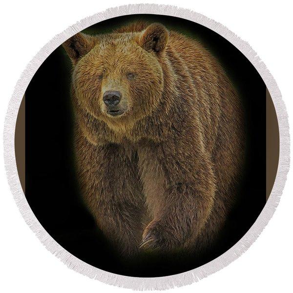 Brown Bear In Darkness Round Beach Towel