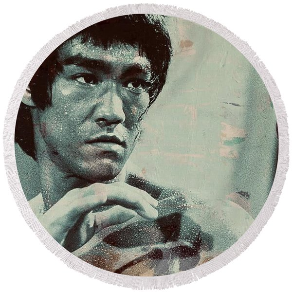 Bruce Lee Round Beach Towel