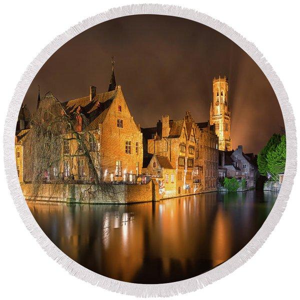 Brugge Belgium Belfry Night Round Beach Towel