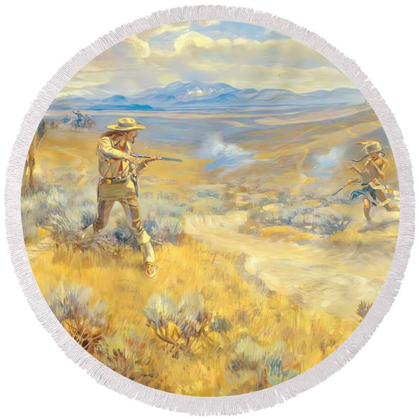 Buffalo Bill Duel With Yellowhand Round Beach Towel