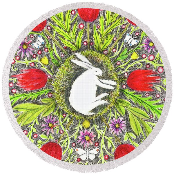 Bunny Nest With Red Flowers And White Butterflies Round Beach Towel