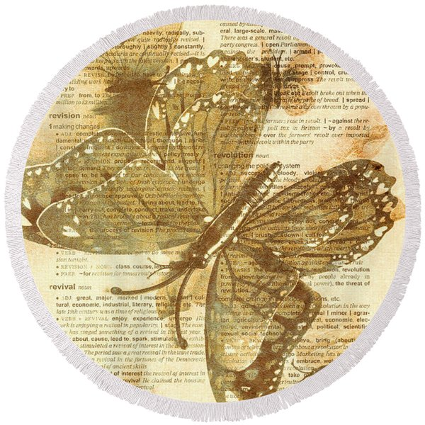 Butterfly Antiquities Round Beach Towel