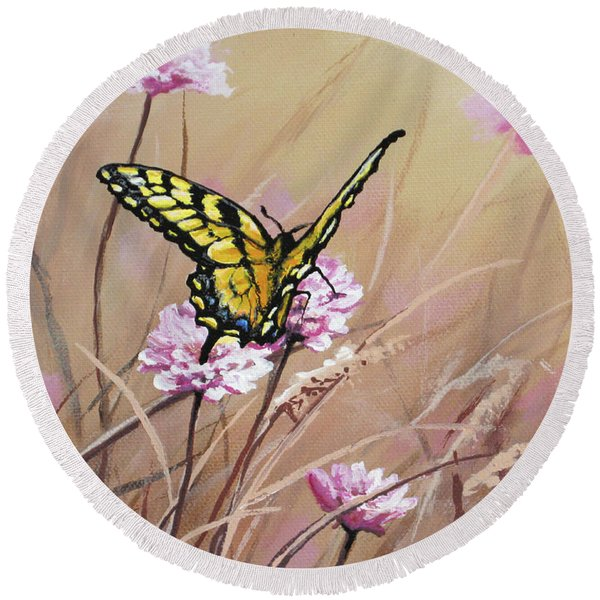 Butterfly Meadow - Part 1 Round Beach Towel
