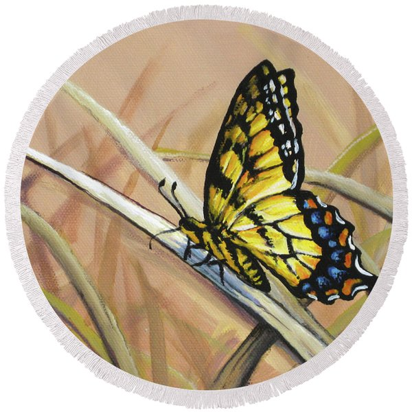 Butterfly Meadow - Part 2 Round Beach Towel