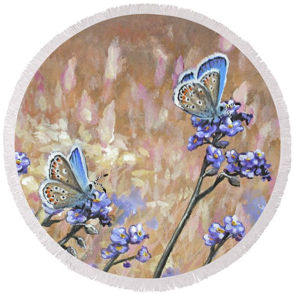 Butterfly Meadow - Part 3 Round Beach Towel
