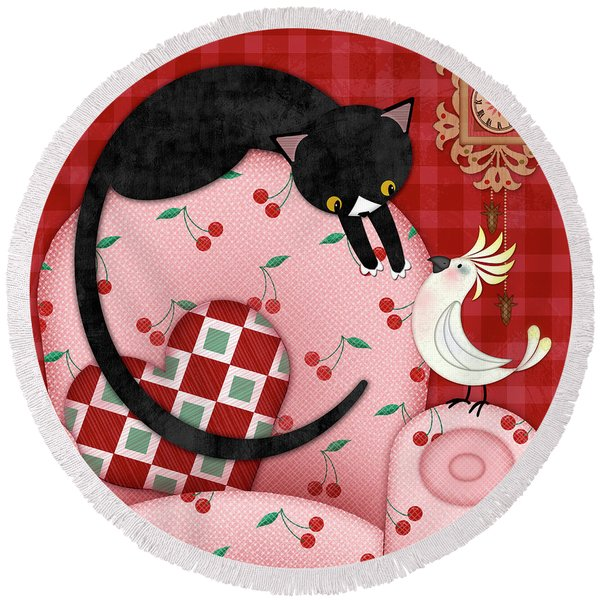 C Is For Cat, Cockatoo, And Coo Coo Clock Round Beach Towel