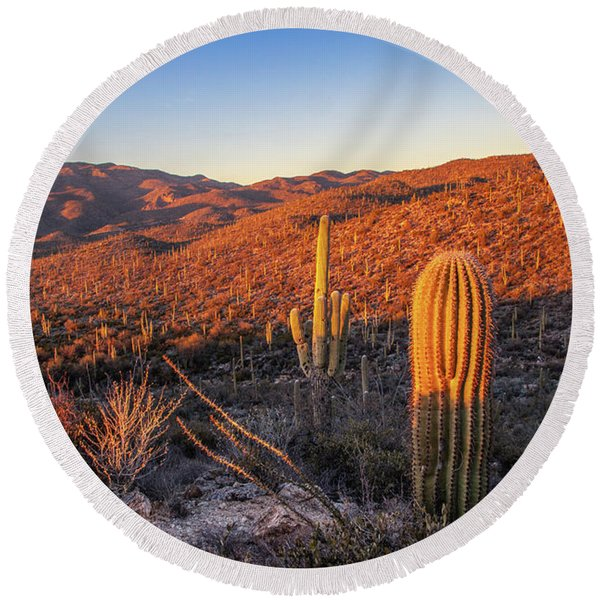 Round Beach Towel featuring the photograph Cactus Hills Sunset by Lon Dittrick