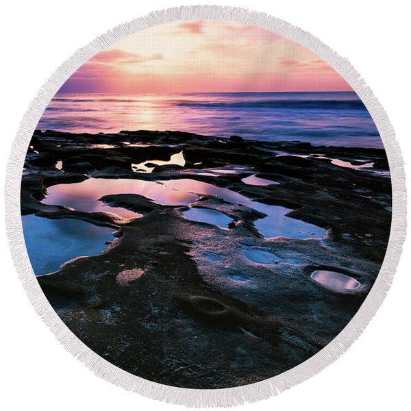 Candy Colored Pools Round Beach Towel