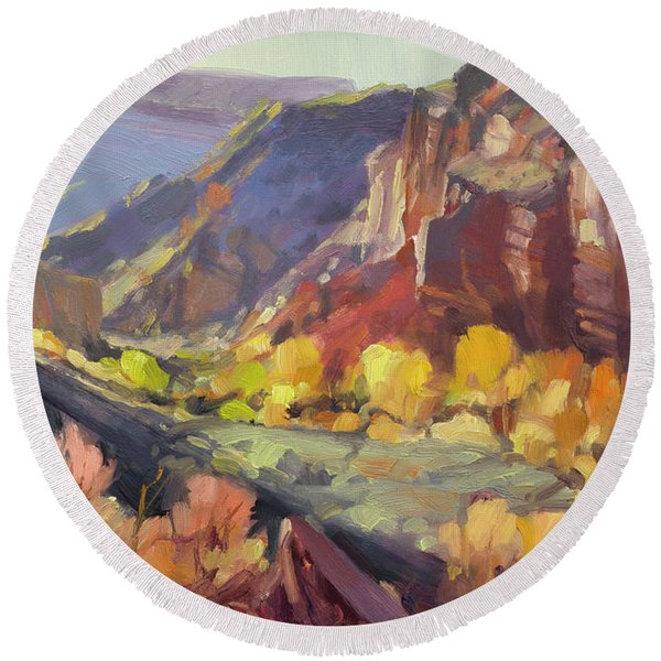 Canyon At Capitol Reef Round Beach Towel