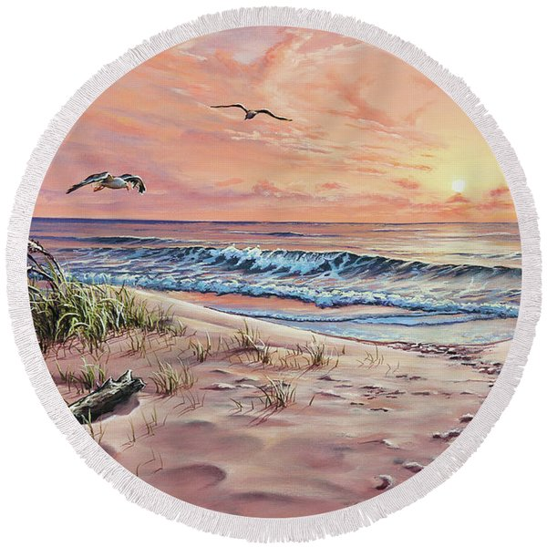 Captured In The Morning Light Round Beach Towel