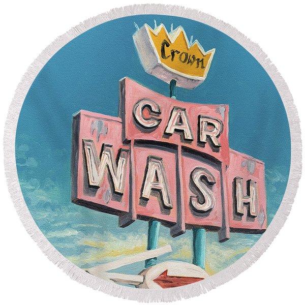 Car Wash Round Beach Towel
