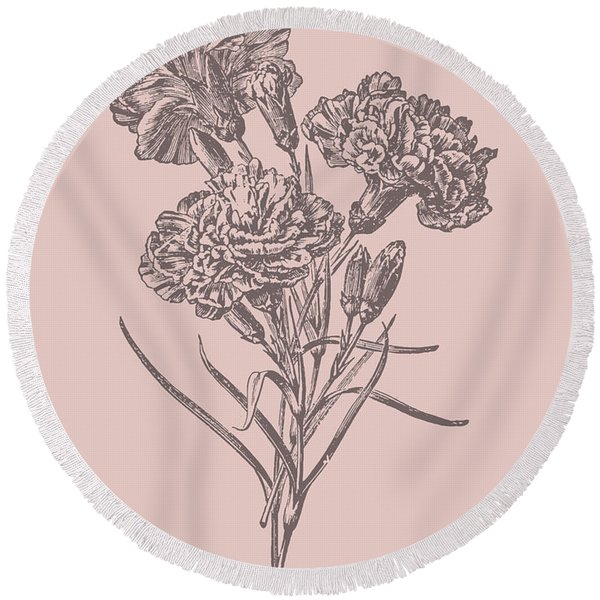 Carnations Bush Pink Flower Round Beach Towel