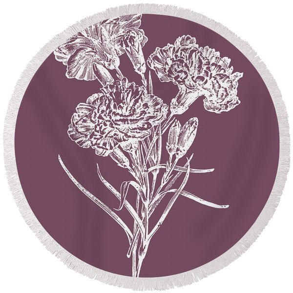 Carnations Purple Flower Round Beach Towel