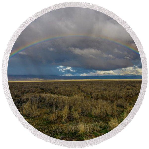 Carrizo Plain Rainbow Round Beach Towel