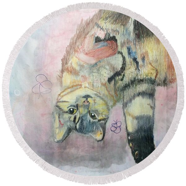 Playful Cat Named Simba Round Beach Towel