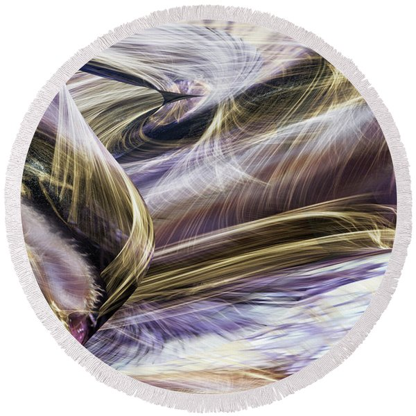 Round Beach Towel featuring the digital art C'est La Vie by Gerlinde Keating - Galleria GK Keating Associates Inc