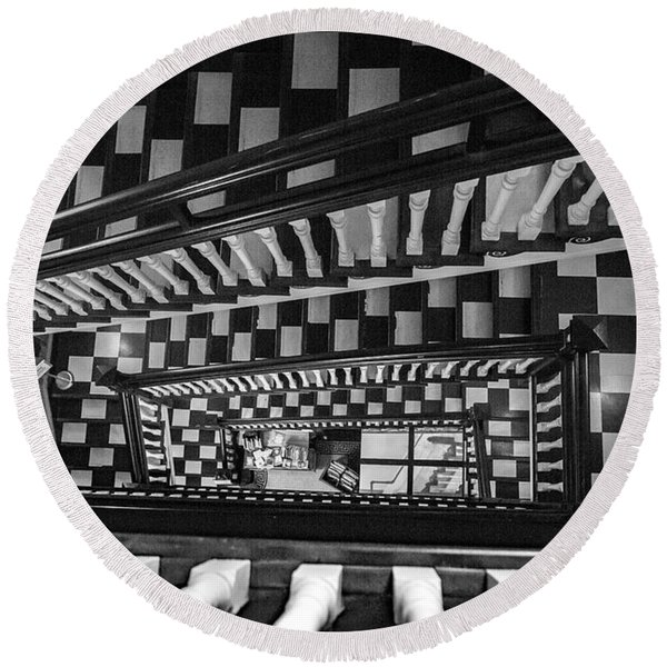 Checkerboard Stairs Staunton Virignia Round Beach Towel